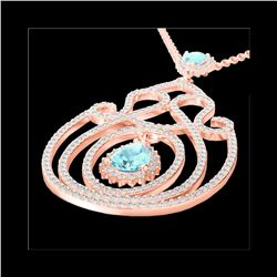 3.20 ctw Sky Blue Topaz & Micro Diamond Heart Necklace 14K Rose Gold