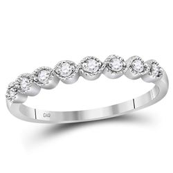 10kt White Gold Round Diamond Stackable Band Ring 1/10 Cttw