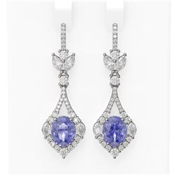 10.73 ctw Tanzanite & Diamond Earrings 18K White Gold