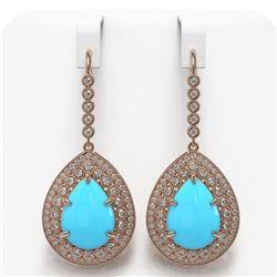 20.22 ctw Turquoise & Diamond Victorian Earrings 14K Rose Gold