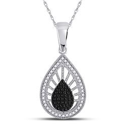 10kt White Gold Round Black Color Enhanced Diamond Teardrop Pendant 1/4 Cttw