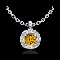 1.1 ctw Intense Fancy Yellow Diamond Art Deco Necklace 18K White Gold