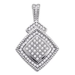 Sterling Silver Round Diamond Square-shape Unique Pendant 1/5 Cttw