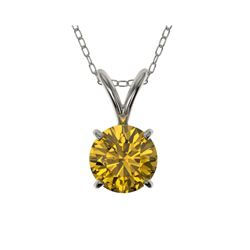 .73 ctw Certified Intense Yellow Diamond Necklace 10K White Gold
