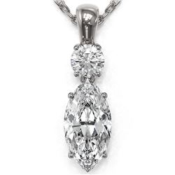 1.25 ctw Marquise Cut Diamond Necklace 18K White Gold
