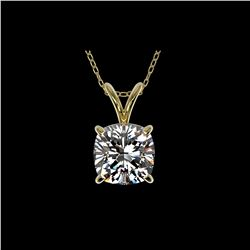 1.25 ctw Certified VS/SI Quality Cushion Diamond Necklace 10K Yellow Gold