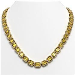 52.94 ctw Fancy Citrine & Diamond Micro Pave Halo Necklace 10K Yellow Gold
