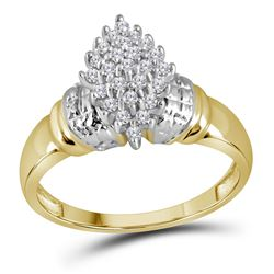 10kt Yellow Gold Round Diamond Oval Cluster Ring 1/4 Cttw