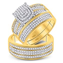 10kt Yellow Gold His Hers Round Diamond Cluster Matching Bridal Wedding Ring Band Set 3/4 Cttw