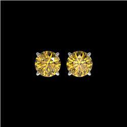 1.54 ctw Certified Intense Yellow Diamond Stud Earrings 10K White Gold