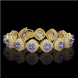 38.1 ctw Tanzanite & Diamond Victorian Bracelet 14K Yellow Gold