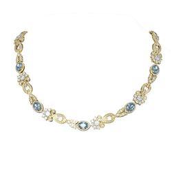 34.3 ctw Aquamarine & Diamond Necklace 18K Yellow Gold