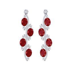 16.12 ctw Designer Ruby & VS Diamond Earrings 18K White Gold