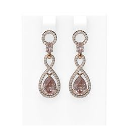 8.36 ctw Morganite & Diamond Earrings 18K Rose Gold