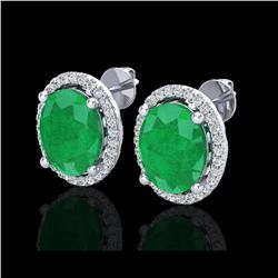 6 ctw Emerald & Micro Pave VS/SI Diamond Earrings 18K White Gold