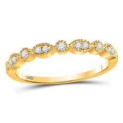 10kt Yellow Gold Round Diamond Milgrain Stackable Band Ring 1/6 Cttw