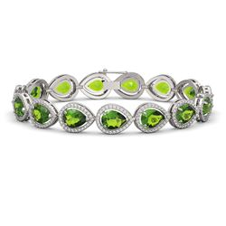 15.8 ctw Peridot & Diamond Micro Pave Halo Bracelet 10K White Gold