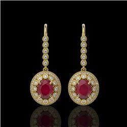 9.25 ctw Certified Ruby & Diamond Victorian Earrings 14K Yellow Gold