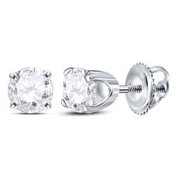 14kt White Gold Unisex Round Diamond Solitaire Stud Earrings 5/8 Cttw