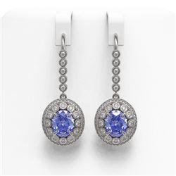 9.47 ctw Tanzanite & Diamond Victorian Earrings 14K White Gold