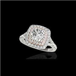 1.6 ctw Certified Diamond Solitaire Halo Ring 10K White & Rose Gold