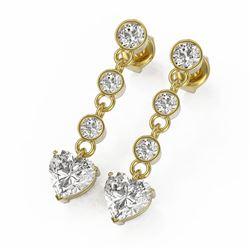 3 ctw Heart Diamond Designer Earrings 18K Yellow Gold