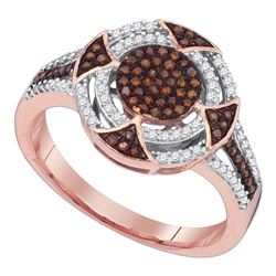10kt Rose Gold Round Red Color Enhanced Diamond Circle Cluster Ring 1/3 Cttw