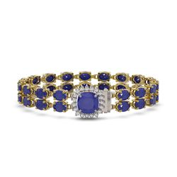 32.18 ctw Sapphire & Diamond Bracelet 14K Yellow Gold