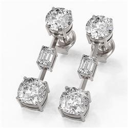 3.5 ctw Cushion Cut Diamond Designer Earrings 18K White Gold