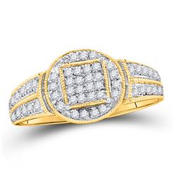 10kt Yellow Gold Round Diamond Circle Frame Cluster Ring 1/5 Cttw