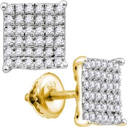 10kt Yellow Gold Round Diamond Cindys Dream Square Cluster Stud Earrings 1.00 Cttw