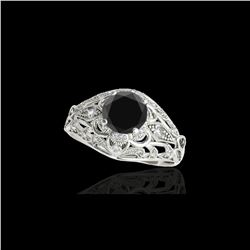 1.36 ctw Certified VS Black Diamond Solitaire Antique Ring 10K White Gold