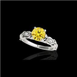 1.1 ctw Certified SI Intense Yellow Diamond Antique Ring 10K White Gold