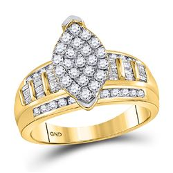 10kt Yellow Gold Round Diamond Oval Cluster Bridal Wedding Engagement Ring 1/2 Cttw