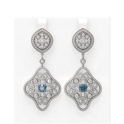 6.06 ctw Intense Blue Diamond Earrings 18K White Gold