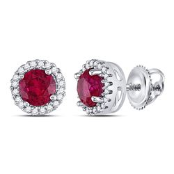Sterling Silver Round Lab-Created Ruby Solitaire Stud Earrings 1-1/3 Cttw
