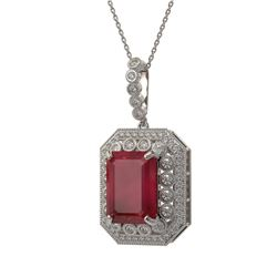 16.46 ctw Certified Ruby & Diamond Victorian Necklace 14K White Gold