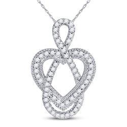 10kt White Gold Round Diamond Captured Infinity Heart Pendant 1/6 Cttw