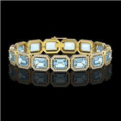35.61 ctw Sky Topaz & Diamond Micro Pave Halo Bracelet 10K Yellow Gold