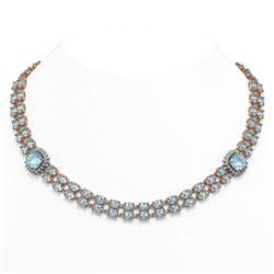 72.67 ctw Sky Topaz & Diamond Necklace 14K Rose Gold