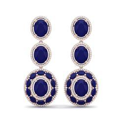32.84 ctw Sapphire & VS Diamond Earrings 18K Rose Gold
