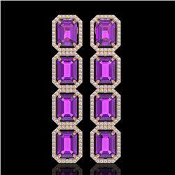 18.59 ctw Amethyst & Diamond Micro Pave Halo Earrings 10K Rose Gold