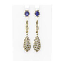 6.68 ctw Sapphire & Diamond Earrings 18K Yellow Gold