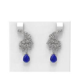 15.97 ctw Sapphire & Diamond Earrings 18K White Gold
