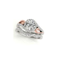 0.95 ctw Certified VS/SI Diamond 2pc Set Ring Solitaire Halo 14K White & Rose Gold