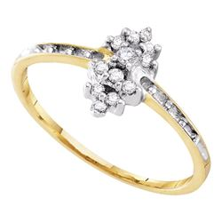 10kt Yellow Gold Round Prong-set Diamond Small Cluster Ring 1/8 Cttw