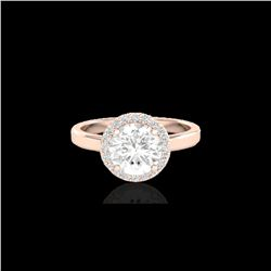 1.75 ctw Halo VS/SI Diamond Certified Micro Pave Ring 14K Rose Gold