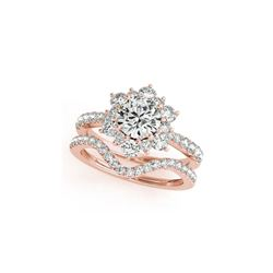 2.41 ctw Certified VS/SI Diamond 2pc Wedding Set Halo 14K Rose Gold