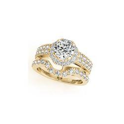 1.19 ctw Certified VS/SI Diamond 2pc Wedding Set Halo 14K Yellow Gold