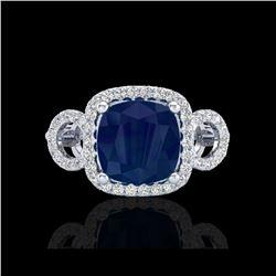 3.15 ctw Sapphire & Micro VS/SI Diamond Certified Ring 18K White Gold